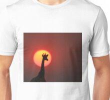 Giraffe Blur - African Wildlife Background - Sunset Bliss Unisex T-Shirt
