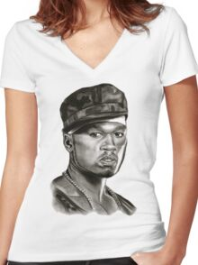 50 cent in black and white Women's Fitted V-Neck T-Shirt