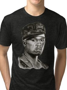 50 cent in black and white Tri-blend T-Shirt