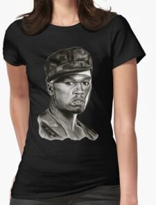 50 cent in black and white Womens Fitted T-Shirt