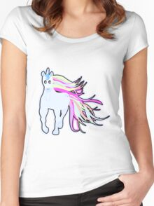 Pretty Pastel Cartoon Unicorn Women's Fitted Scoop T-Shirt