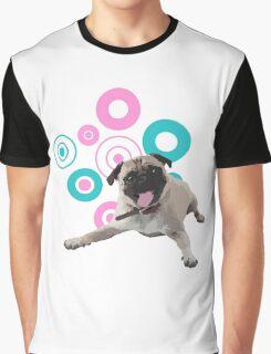 Retro Circles Pug Vector Graphic T-Shirt