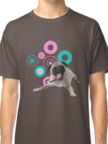 Retro Circles Pug Vector Classic T-Shirt