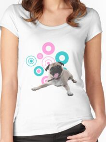 Retro Circles Pug Vector Women's Fitted Scoop T-Shirt