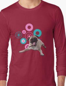 Retro Circles Pug Vector Long Sleeve T-Shirt