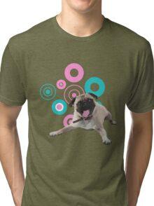 Retro Circles Pug Vector Tri-blend T-Shirt