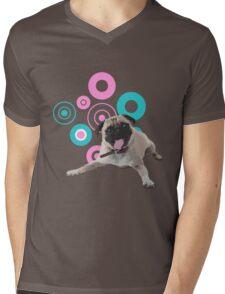 Retro Circles Pug Vector Mens V-Neck T-Shirt