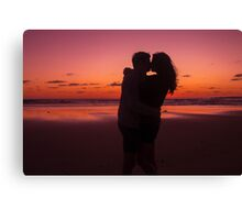 Sunset Cute Couple Kissing Canvas Print