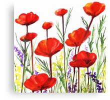 Red Poppies Watercolor by Irina Sztukowski Canvas Print