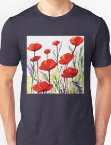 Red Poppies Watercolor by Irina Sztukowski Unisex T-Shirt