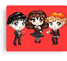 Cute Harry Ron and Hermione wearing Gryffindor Uniforms, Hand-Drawn Manga/Anime Chibi Style Canvas Print