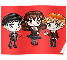 Cute Harry Ron and Hermione wearing Gryffindor Uniforms, Hand-Drawn Manga/Anime Chibi Style Poster