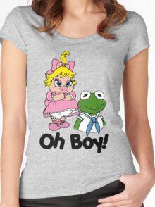 Muppet Babies - Kermit & Miss Piggy - Oh Boy Women's Fitted Scoop T-Shirt