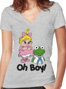 Muppet Babies - Kermit & Miss Piggy - Oh Boy Women's Fitted V-Neck T-Shirt