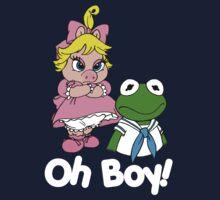 Muppet Babies - Kermit & Miss Piggy - Oh Boy - White Font Kids Tee