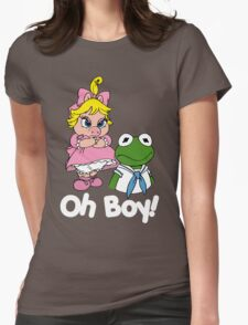 Muppet Babies - Kermit & Miss Piggy - Oh Boy - White Font Womens Fitted T-Shirt