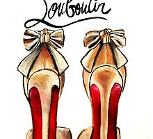 Classic Brown Red Bottom Louboutin High Heels Pumps by Arts4U