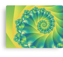 Bright Yellow and Green Spiral Canvas Print