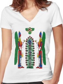 Assyrian Winged Genius Women's Fitted V-Neck T-Shirt