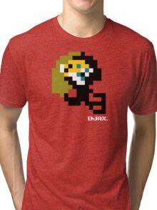 Tecmo Bowl - Jacksonville - 8-bit - Mini Helmet shirt Tri-blend T-Shirt