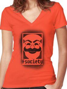 fsociety logo - black spray painted Women's Fitted V-Neck T-Shirt
