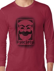 fsociety logo - black spray painted Long Sleeve T-Shirt