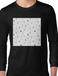 Seamless business social network pattern Long Sleeve T-Shirt