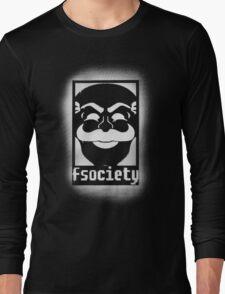 fsociety logo - white spray painted Long Sleeve T-Shirt