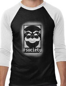 fsociety logo - white spray painted Men's Baseball ¾ T-Shirt