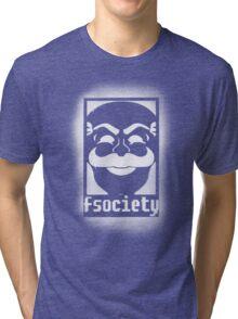 fsociety logo - white spray painted Tri-blend T-Shirt