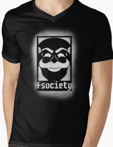 fsociety logo - white spray painted Mens V-Neck T-Shirt