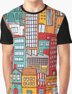 Seamless pattern background of cartoon city Graphic T-Shirt