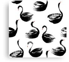 Black swan dry brush print Canvas Print