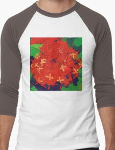 Red Ixora abstract Men's Baseball ¾ T-Shirt