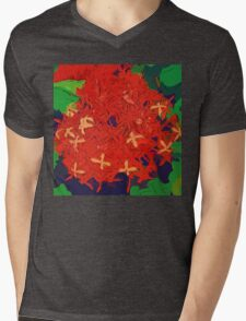 Red Ixora abstract Mens V-Neck T-Shirt