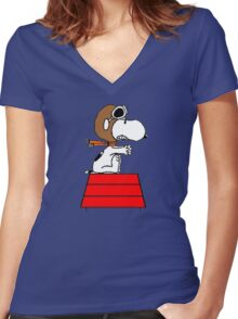 flying pilot snoopy fun Women's Fitted V-Neck T-Shirt