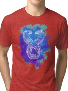Watercolor Otters in Blue Tri-blend T-Shirt