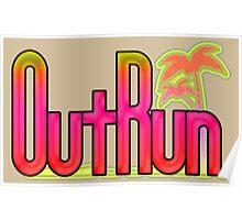 OutRun SEGA Arcade Vaporwave Logo Poster