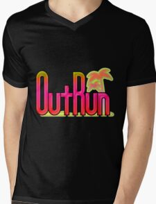 OutRun SEGA Arcade Vaporwave Logo Mens V-Neck T-Shirt