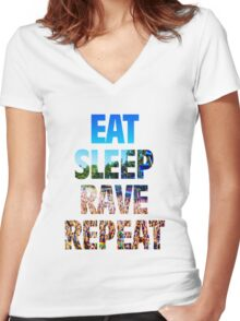 Eat Sleep Rave Repeat Women's Fitted V-Neck T-Shirt