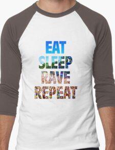 Eat Sleep Rave Repeat Men's Baseball ¾ T-Shirt