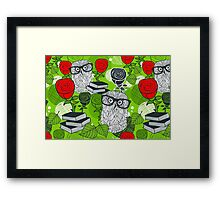 Red roses and clever owls Framed Print