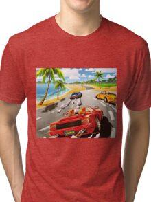 California OutRun SEGA utopian heaven arcade racer Tri-blend T-Shirt
