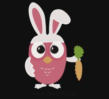 Cute pink little owl with bunny ears. One Piece - Long Sleeve