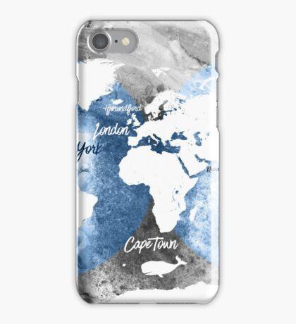 Blue ocean world map iPhone Case/Skin