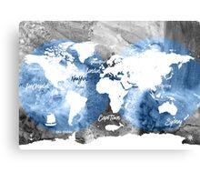 Blue ocean world map Canvas Print