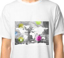 Concrete colorful world map Classic T-Shirt