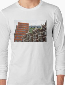 The Old and the New - Victorian Houses in Front of the Apple Green and Orange Facades of Central Saint Giles Long Sleeve T-Shirt