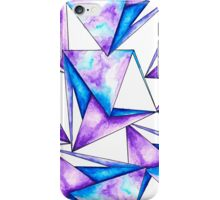 Modern geometric blue purple watercolor triangles iPhone Case/Skin