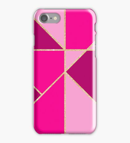 Stylish neon pink pastel color block gold stripes  iPhone Case/Skin